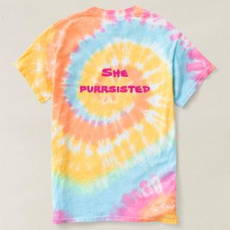 彼女Purrsistedの虹猫のワイシャツ Tシャツ