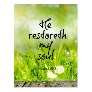 彼restoreth私の精神の聖書の詩の聖なる書物、経典 ポストカード