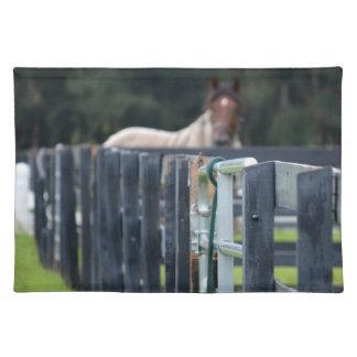 後ろ衰退した馬が付いている塀 ランチョンマット