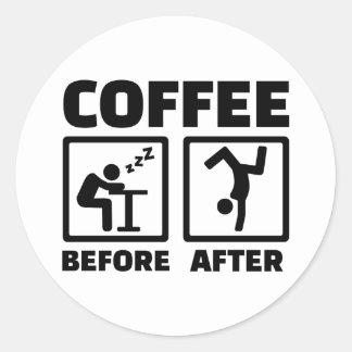 後前にコーヒー ラウンドシール