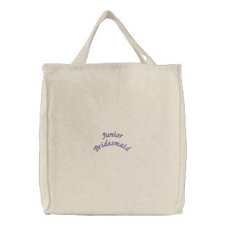 後輩の新婦付添人によって刺繍されるバッグ 刺繍入りトートバッグ