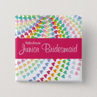 後輩の新婦付添人の虹は結婚式ボタンを振りかけます 5.1CM 正方形バッジ