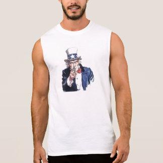 後退させて下さい! 私はアメリカ人です 袖なしシャツ