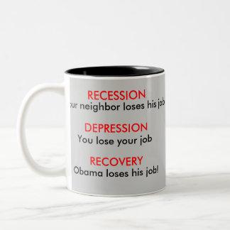 後退、不況、回復-経済 ツートーンマグカップ