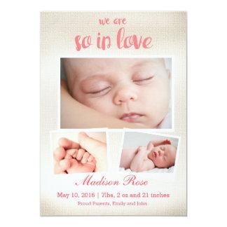 従って愛女の赤ちゃんの誕生の発表で 12.7 X 17.8 インビテーションカード