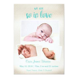 従って愛男の赤ちゃんの誕生の発表で 12.7 X 17.8 インビテーションカード