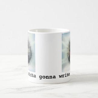 従って、今日書くことを行くwhatchaか。 コーヒーマグカップ