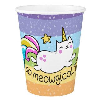 従ってMeowgicalのかわいいユニコーンの子猫のグリッターの輝き 紙コップ