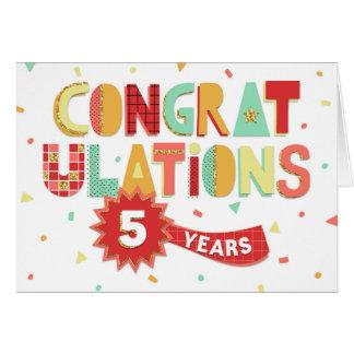 従業員記念日お祝い5年のおもしろいの カード