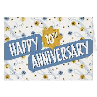 従業員記念日青く白いパターン10年の カード