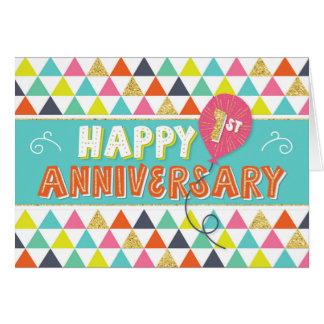 従業員記念日1年-カラフルなパターン カード