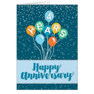 従業員記念日4年-気球の紙吹雪 カード