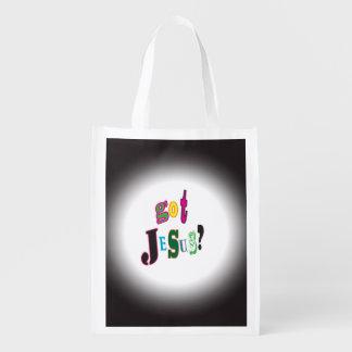 得られたイエス・キリストの黒い楕円形の抽象芸術 エコバッグ