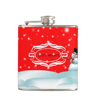 得られたラム酒の幸せな雪だるまのクリスマスの冬のフラスコ フラスク