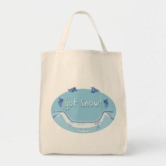 得られた雪のスノーボードのTシャツのギフト トートバッグ