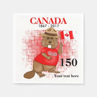 得意気にカナダのビーバー150記念日 スタンダードカクテルナプキン