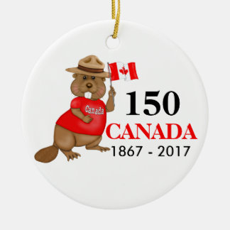 得意気にカナダのビーバー150記念日 セラミックオーナメント