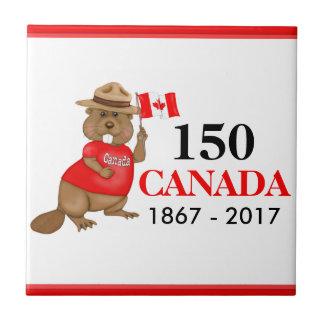 得意気にカナダのビーバー150記念日 タイル