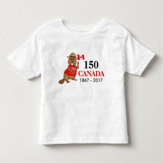得意気にカナダのビーバー150記念日 トドラーTシャツ