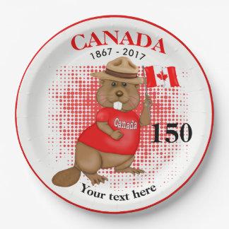 得意気にカナダのビーバー150記念日 ペーパープレート