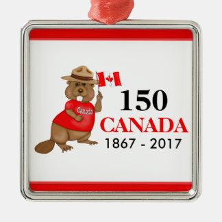 得意気にカナダのビーバー150記念日 メタルオーナメント