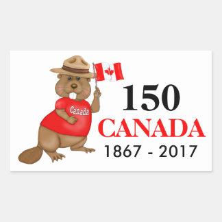 得意気にカナダのビーバー150記念日 長方形シール