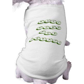 """""""御馳走のために""""小犬のTシャツ働きます ペット服"""