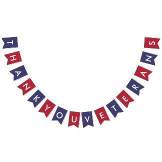 復員軍人の日のタイポグラフィの米国旗色 バンティングフラッグ