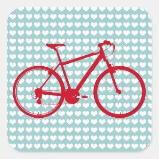 循環する赤いバイク スクエアシール