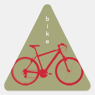 循環する赤いバイク 三角形シール