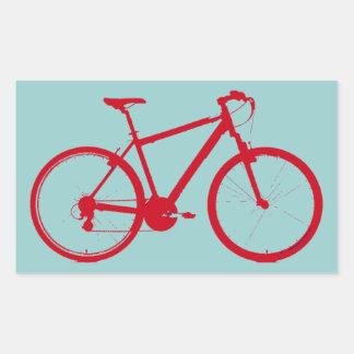 循環する赤いバイク 長方形シール