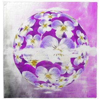 微妙で、シンプルなすみれ色のパンジーの花模様の地球 ナプキンクロス