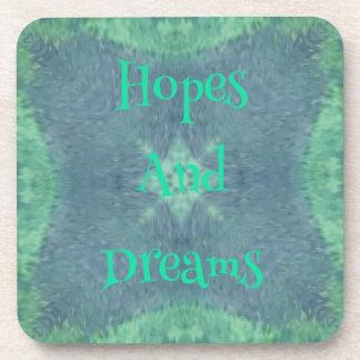 微妙な青緑の希望および夢のデザイン コースター
