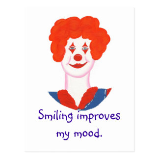 微笑する幸せなピエロの顔は私の気分を改善します ポストカード