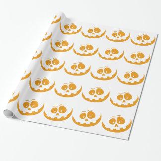 微笑のオレンジジャック「Oのランタンのハロウィンのカボチャ ラッピングペーパー