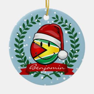 微笑のガイアナの旗のクリスマスのスタイル セラミックオーナメント