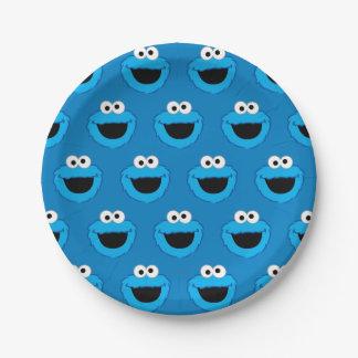 微笑のクッキーモンスターパターン ペーパープレート