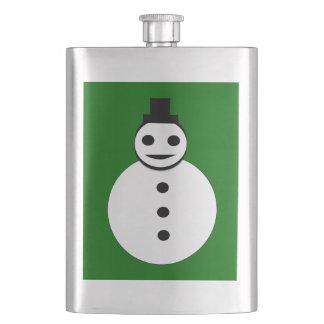 微笑のクリスマスの雪だるまのフラスコ フラスク
