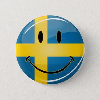 微笑のスウェーデンの旗 5.7CM 丸型バッジ
