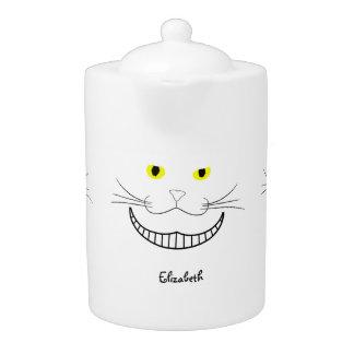 微笑のチェシャー透明な猫のティーポット