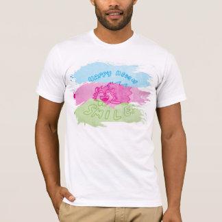 微笑のハリネズミの色彩の鮮やかな三色のティー Tシャツ