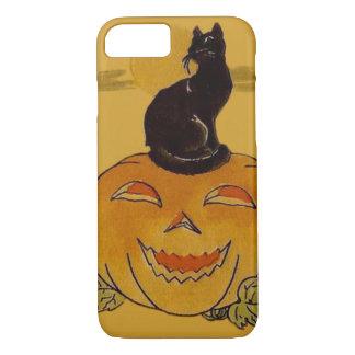 微笑のハロウィーンのカボチャのちょうちんのカボチャ黒猫のつる植物 iPhone 8/7ケース
