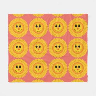微笑のヒマワリ フリースブランケット