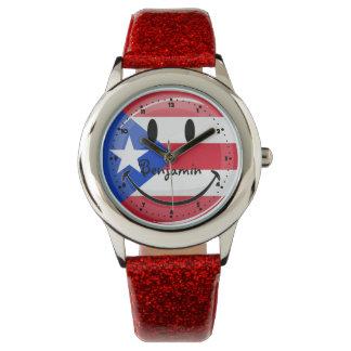 微笑のプエルトリコの旗 腕時計