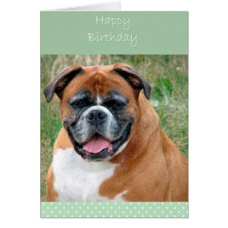 微笑のボクサー犬のハッピーバースデーの挨拶状 グリーティングカード