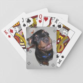 微笑のロットワイラーの子犬のトランプ トランプ