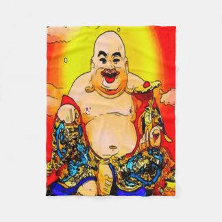 微笑の仏のグラフィックアートのフリースブランケット フリースブランケット