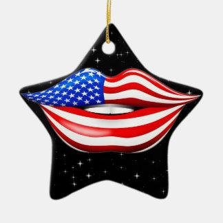 微笑の唇のオーナメントの米国の旗の口紅 セラミックオーナメント