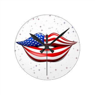 微笑の唇の柱時計の米国の旗の口紅 ラウンド壁時計