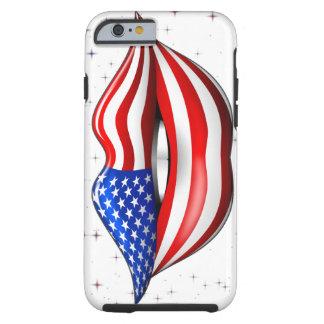 微笑の唇のiPhone6ケースの米国の旗の口紅 ケース